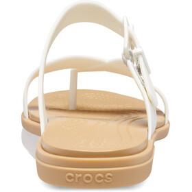 Crocs Tulum Toe Post Sandalias Mujer, beige/blanco